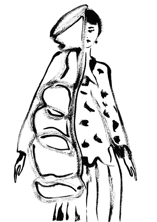 Woman in half coat